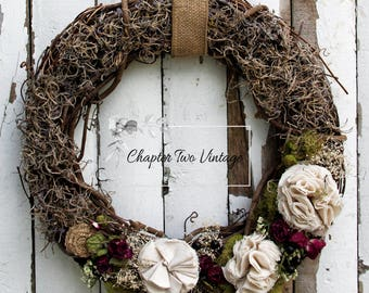 Grapevine Wreath With Fabric Flowers and Burlap Roses, Spring/Summer Wreath