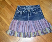 Upcycled jean skirt...sweet striped fabric... festival perfect...size 7...