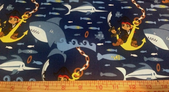 "Fabric Jake Underseas 1 yard x 44"" wide new polyester cotton Disney"