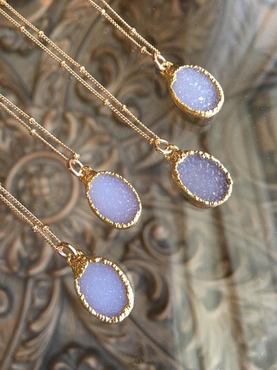 Druzy Necklaces, crystal necklace, Druzy jewelry
