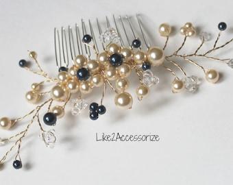 Floral Vines Comb, Ivory White Gold Bridal Hair Comb, Wedding Hair Accessories, Bridal Hair Pieces, Bridesmaid Hair Comb, Wedding Hair Comb