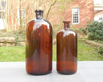 One Antique Large Amber Apothecary Bottle Jar with Cork Top Stopper Medical Amber Brown Glass: Maltbie Chemical Co Newark, NJ or Plain Cork
