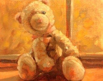 original painting kitten stuffed animal 8x10