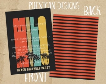 Two-sided Vintage Surf Invitation or Announcement--Digital Download
