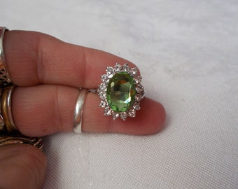 Stunning Green Crystal System Ring-Size 6-R622