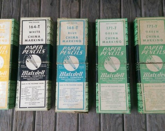 Five Boxes of Used Blaisdell China Marking Paper Pencils Grease Pencils