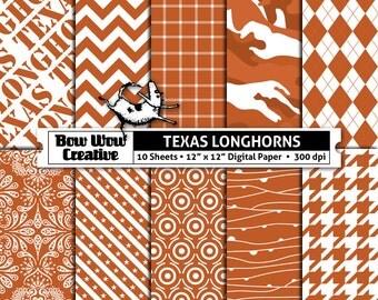 10  University of Texas, Austin, Longhorns, orange, digital, paper, scrapbook paper, team colors, printable, patterns, college, sports