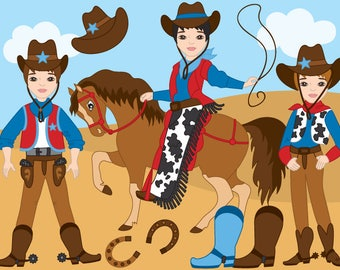 70% OFF SALE Cowboy Clipart - Digital Vector Wild West, Cowboy, Horse, Western, Cowboy Clip Art