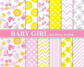 70% OFF SALE Baby Girl Digital Paper - Digital Pattern, Girl, Stroller, Baby Shower, Newborn Papers