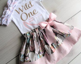 WILD ONE Birthday Outfit/Feather and Arrow Skirt Set/Tribal Birthday Skirt Set