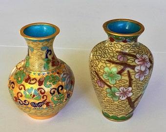 Vintage Miniature Cloisonne Vases, decorative turquoise enamel floral vases, home decor