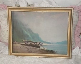 Sydney Laurence  Row Boat on Island Print, On Place Mat Framed, Sydney Laurence, Castle rock,:)s*