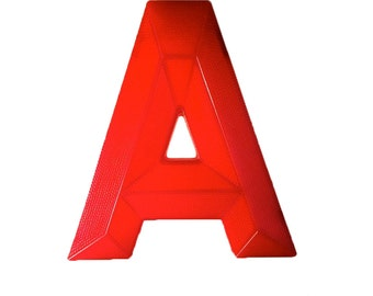 RED LETTER A - Marquee Letter A Vintage Marquee Sign Letter Capital A Translucent Red Letter A Wall Decor Hanging Sign
