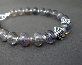 Natural Gemstone Iolite Rondelle 8mm Bracelet, 925 Bali Silver, 925 Sterling Silver Toggle Clasp Bracelet, Gemstone Iolite Bracelet,