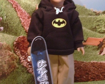 Batman Hoodie Khaki Pants and Skateboard for American Boy Dolls