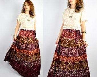 Vintage India Maxi WRAP Skirt - Indian Skirt - Ethnic - Block Print - Floral Skirt - Tribal - Gypsy - Boho - Hippie - Festival - size S - M