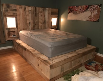 King bed headboard with storage - Lighted Headboard Raised Platform Pallet Bed