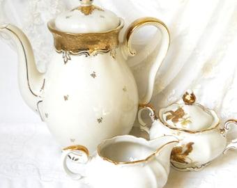 SALE- vintage tea set mismatched tea set coffee set floral tea set gold tea pot vintage coffee pot floral tea set