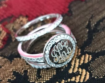 Sterling Silver Monogrammed Ring Round with CZ Edge