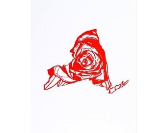 Letterpress New York Rose