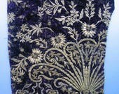 Antique Turkish Gold Metallic Embroidered Design on Deep Purple Silk Velvet 19th c.