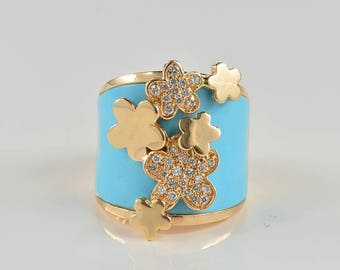 Magnificent design contemporary turquoise and diamond signed ring