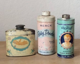 Set of 3 RARE & Collectible Vintage Baby Powder Tins, Vintage Nursery Decor, Air Float, Merck and Tiny Tot Baby Powder, Tin Collection