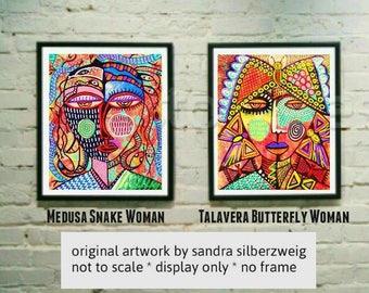 Talavera Tribal Women )(  Lot of 2 - SILBERZWEIG ORIGINAL PAINTINGS - Raw Brut Folk - Butterfly, Angel, Medusa, Snake, Goddess, Boho, Nature