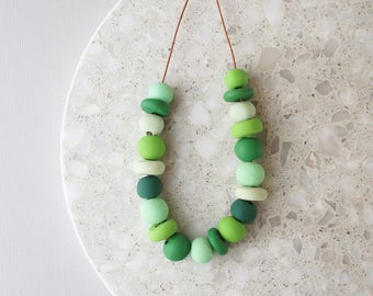 Beaded Necklace in Shades of Green - Handmade Polymer Clay Beads - Limited Edition - Adjustable