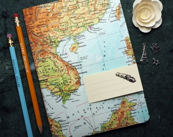 TRAVEL JOURNAL, Vietnam, Cambodia, Thailand, Saigon, 5,7x8,2inch, 40 p. RULED travel journal, diary, notebook, map, vintage, upcycling
