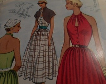 Vintage 1950's McCall 8461 Dress and Bolero Sewing Pattern, Size 14 Bust 32