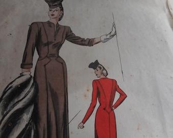 SALE RARE Vintage 1940's Vogue No. 227 Couturier Design Dress Sewing Pattern, Size 14 Bust 32