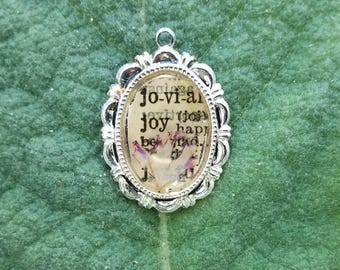 Vintage Dictionary Page and Pressed Flower Pendant