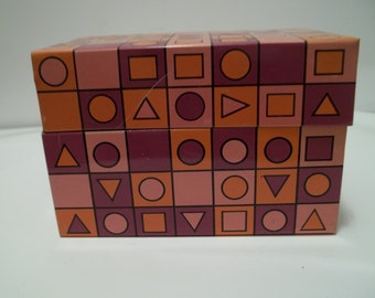 Vintage 1960's Geometric Metal Recipe Box Pink & Orange