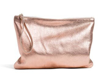 Rose Gold leather clutch, evening bag, foldover clutch bag