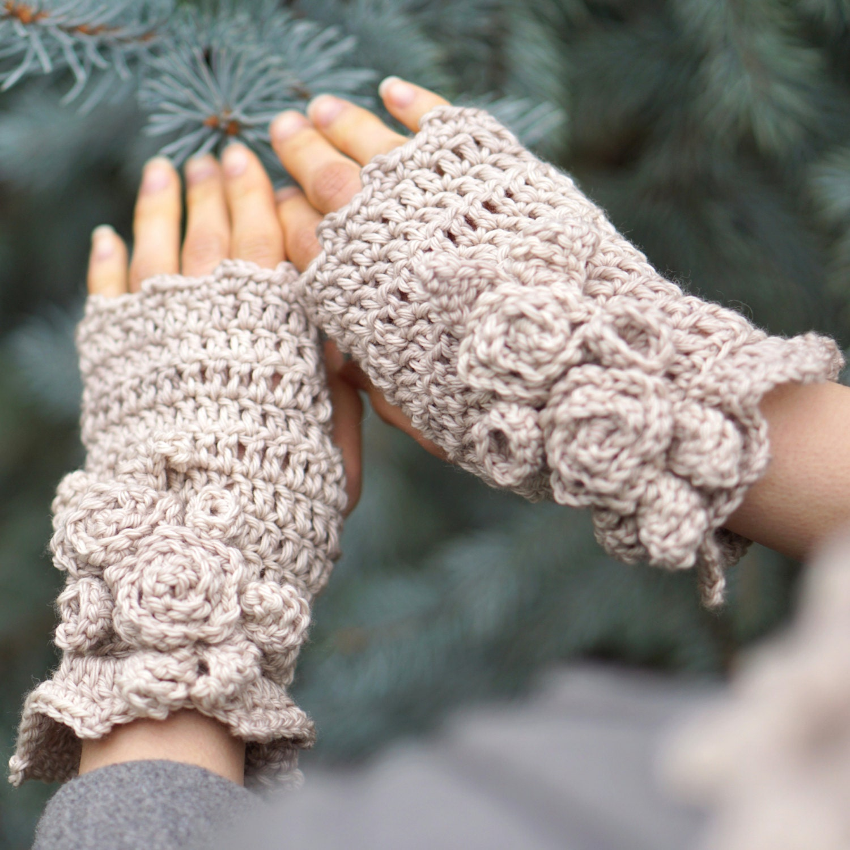 Crochet pattern elegant rose hand and arm warmers crochet pattern valerie baber designs bankloansurffo Images