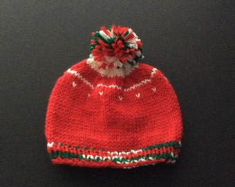 Baby Boy Red Christmas Hat with Pompom