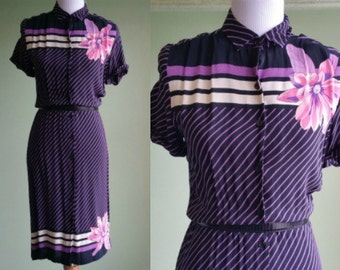 1970s All about Stripes Dress - 40s Style - Purple - Small