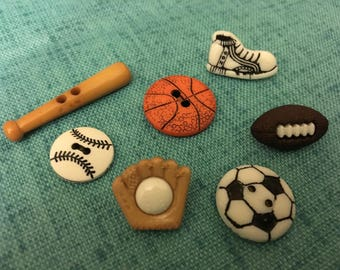 BUTTONS - 1970s Vintage New Acrylic Sports Motif Buttons (set of 7)