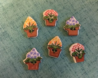 BUTTONS - 1990s Vintage New Hand-made Ceramic Potted Flowers Buttons (set of 6)