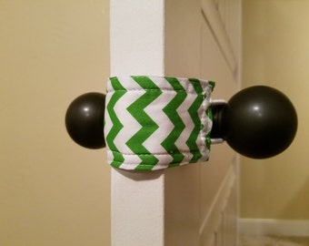 Green Chevron (3 PACK) Door Silencer, Door Jammer, Nursery Door Silencer, Door cushion, Door latch cover, baby shower gift, LATCHY CATCHY