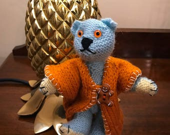 Artist Bear called Sydney MADE TO ORDER Handknitted & Embroidered Amber Glass Eyes