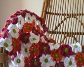 Crochet baby blanket pattern, crochet afghan pattern, crochet flower blanket, Tropical blooms baby blanket, pattern no. 74