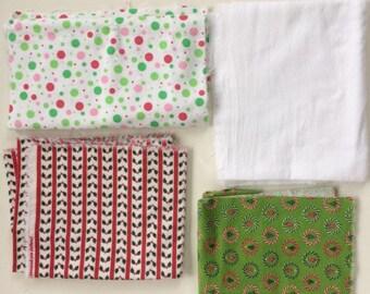 Fabric destash, flannel fabric bundle, Christmas prints, coordinating fabric, Christmas crafts, miscellaneous flannel pieces