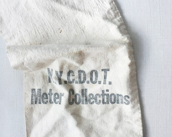 Vintage NYC Meter Collections Bag - new york city - industrial - retro - hipster - brooklyn - flour sack - canvas - repurposed - bank bag