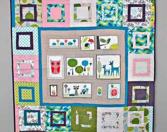 Cute Little Critters Quilt, Throw Sized, Deer, Owl, Raccoon, Hedgehog, Ladybug in Blue, Green, Teals, Pink and Grey