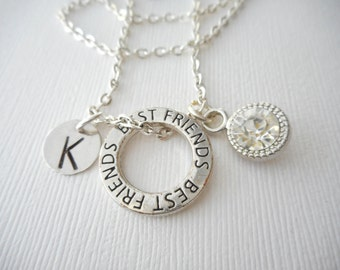 Crystal, Best Friends -Initial Necklace/ Friend Necklace, best friend jewelry, friendship necklace, going away gift, personalized