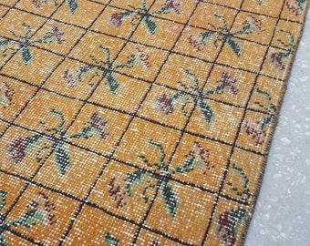 2 by 3 rug / Vintage Oushak Rug / Vintage Rug / Turkish Oushak Rug / Distressed Rug / Oushak Rug / Floral Rug / Kitchen Rug / Small Rug