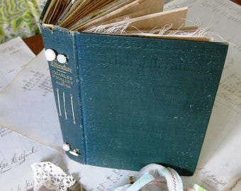 Travel Journal, Art Journal, Junk Journal or Smash Book handmade  with Vintage book cover and some vintage papers and trims
