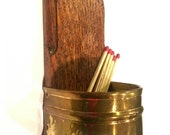 Vintage, Copper, Match Holder, Signed Rex Morton, Copper and Wood, Rustic Chic